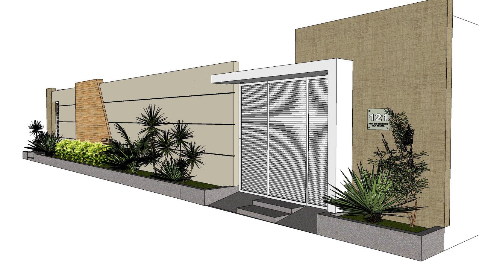 Projeto de fachada de muro moderna