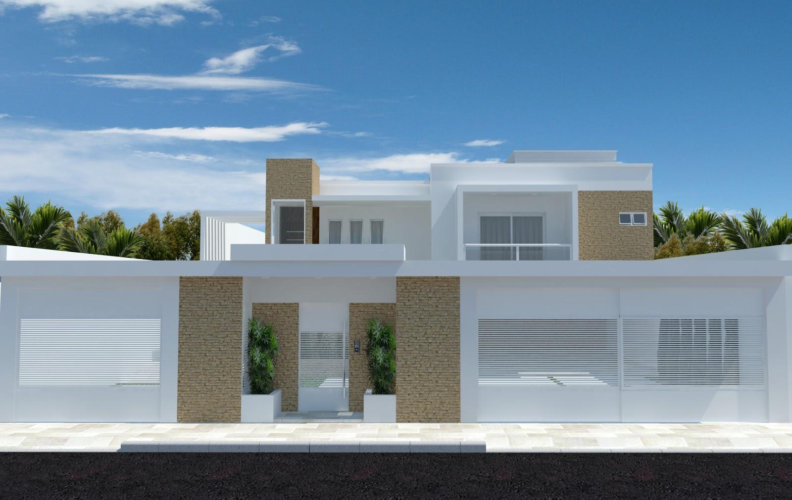 Fachadas de muro perfeitamente integrada e harmônica ao projeto