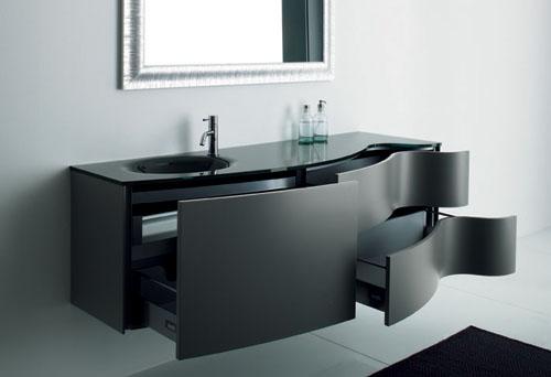 gabinete curvo preto para banheiro moderno