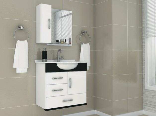 Armários e Gabinetes para banheiro -> Armario De Banheiro Com Cuba Quadrada