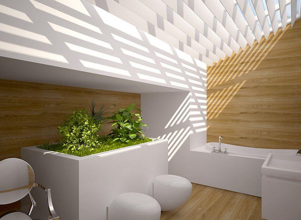 Iluminação natural: Banheiro com entrada para luz solar no teto