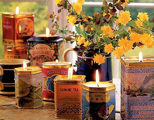 Latas de chá recicladas e feito velas