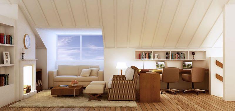 Sótão decorado como um belo living com sala, escritório e lareira