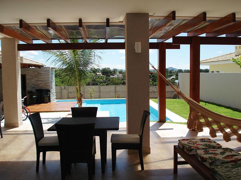 varanda mobiliada para casa com psicina