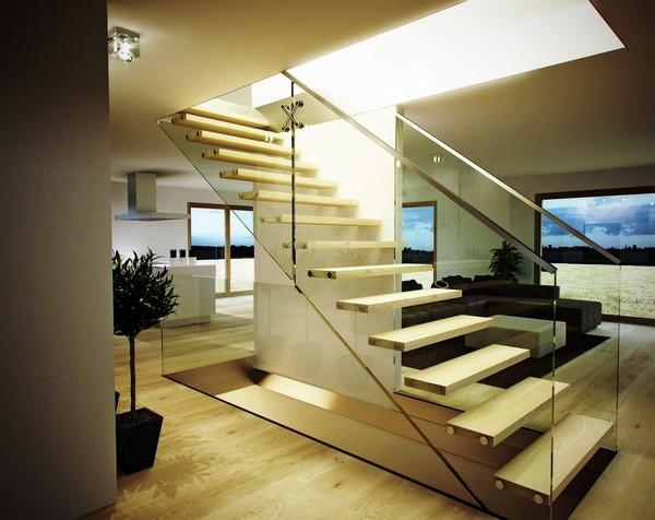Escada reta simples sem patamar e de design minimalista