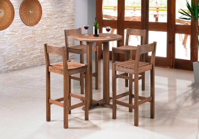 banquetas de madeira altas para mesa de tampo estreiro