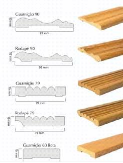 diferentes modelos de guarnição para porta, do simples liso ao mais chanfrado