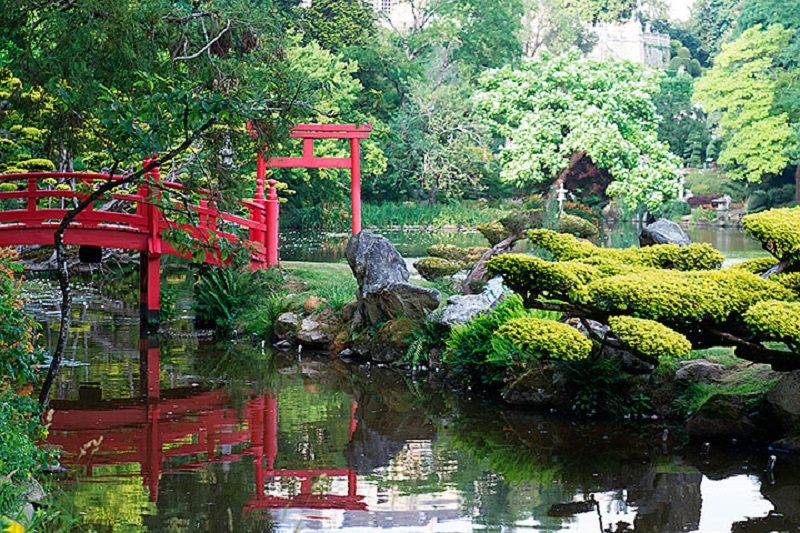 Típico caso de Jardim Japonês, com pedras, plantas tradicionais e um córrego de água para amenizar a paisagem.
