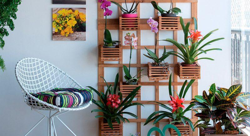 Jardim Vertical tipo treliçado - os vasos de plantas ficam pendurados nos tirantes da treliça de madeira neste caso