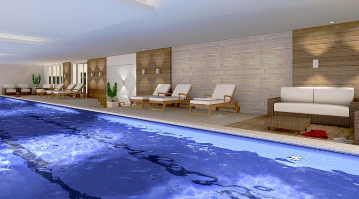 Modelo interno de piscina com revestimento em cerãmica