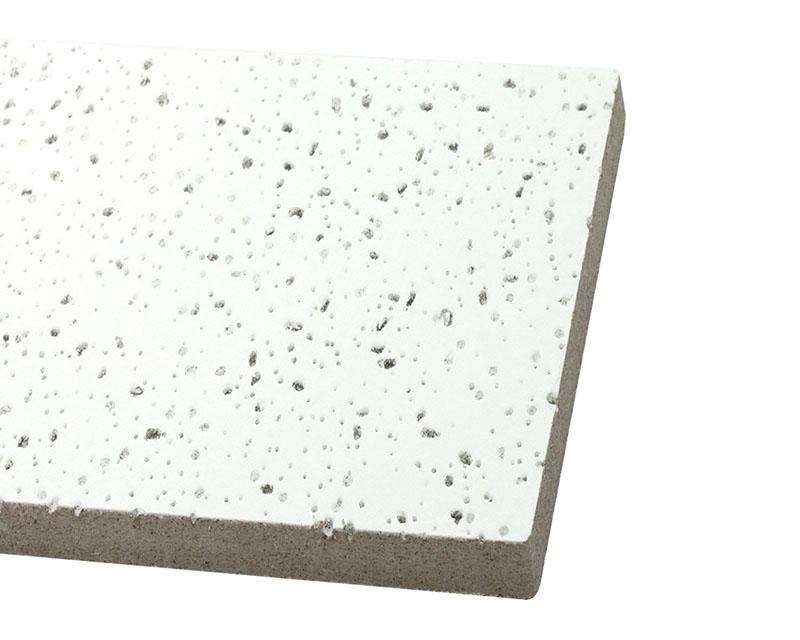 Aspecto de uma placa e forro mineral: Material poroso,portanto bom isolante termoacústico