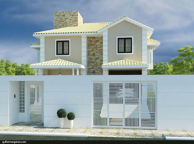 modelo de sobrado com telhado branco