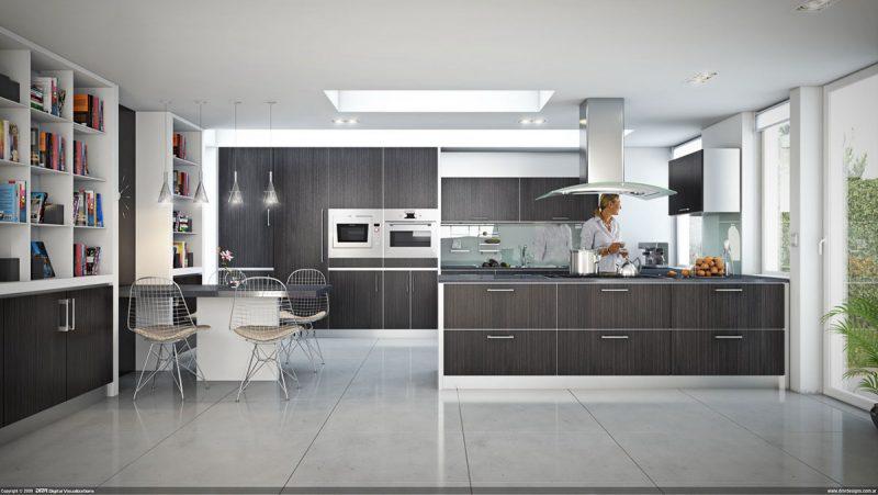 Projeto argentino de cozinha moderna e espaçosa em tons de cinza
