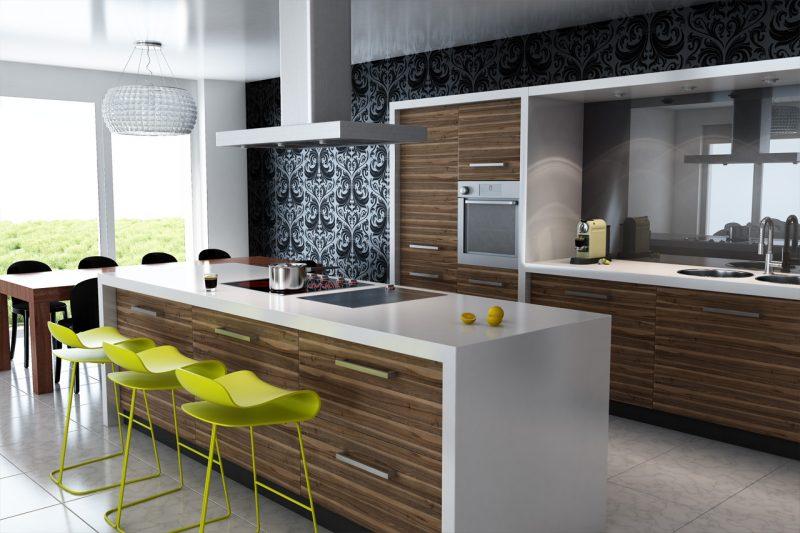 Design de cozinha moderna com balcão branco em móveis em madeira