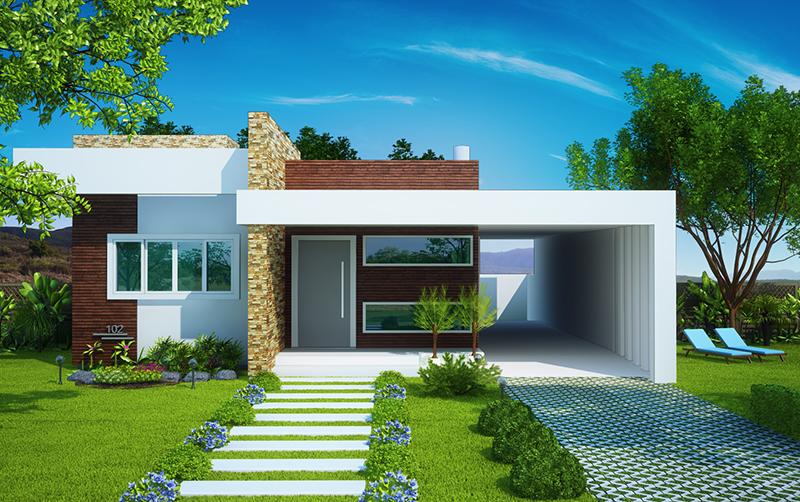Fachada de casa moderna terrea