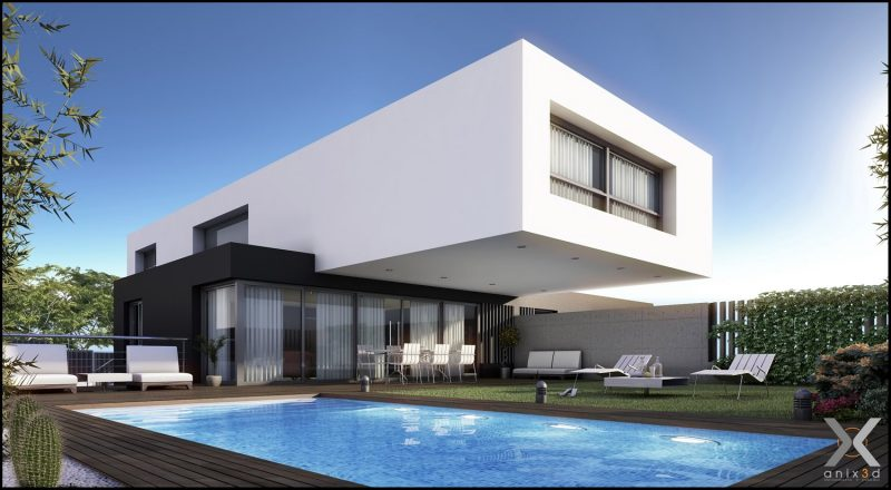 32 ideias de casas modernas fachadas projetos e fotos for Casas modernas de una planta minimalistas
