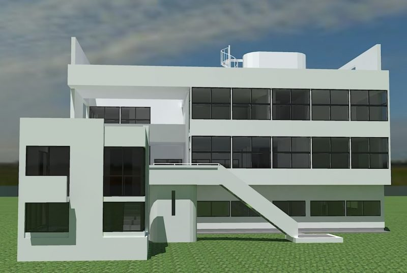 Projeto de casa moderna com grandes planos de janela em fita