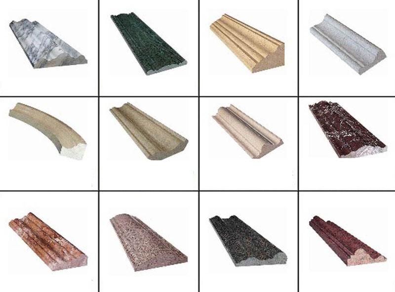 Diferentes modelos de peitoril de janela feitos em granito de diversas cores