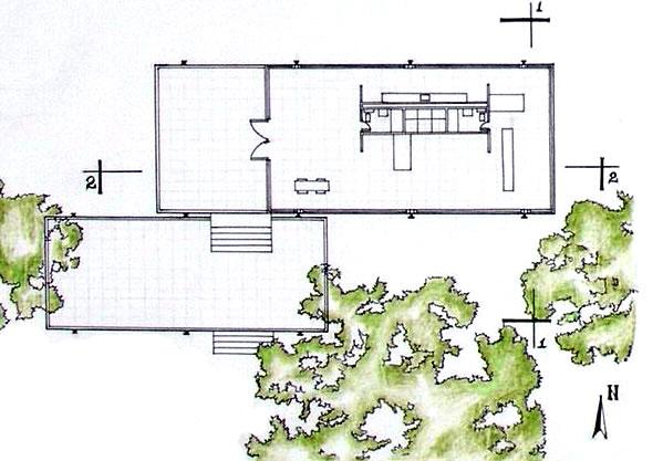 Planta da casa moderna Farnsworth, extremamente simples e aberta