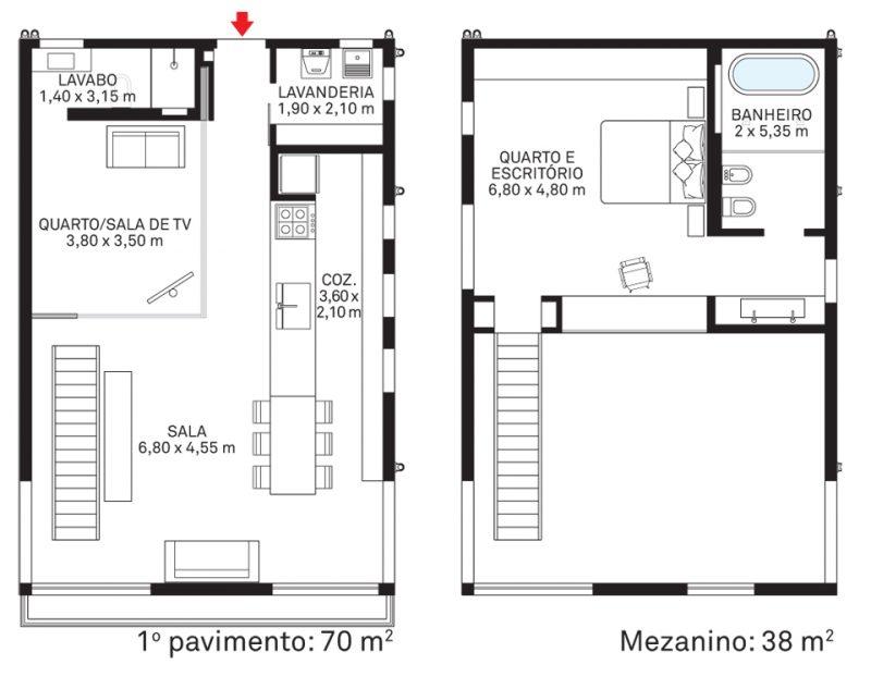 apartamento moderno decorado com planta livre