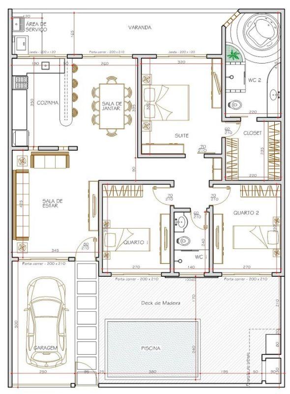 Planta de apartamento de nível térreo moderno decorado