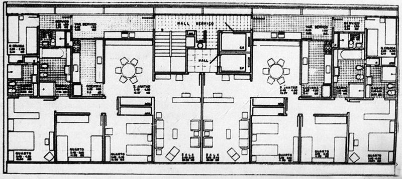 Plantas de apartamentos modernos contíguos