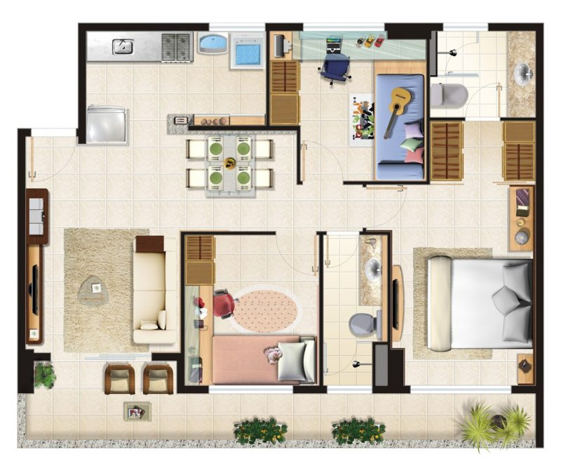 planta de um Excelente modelo de apartamento decorado moderno
