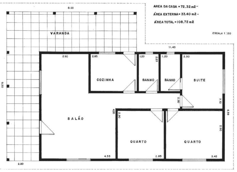 Planta de casa moderna simples com varanda e suíte para quarto de casal