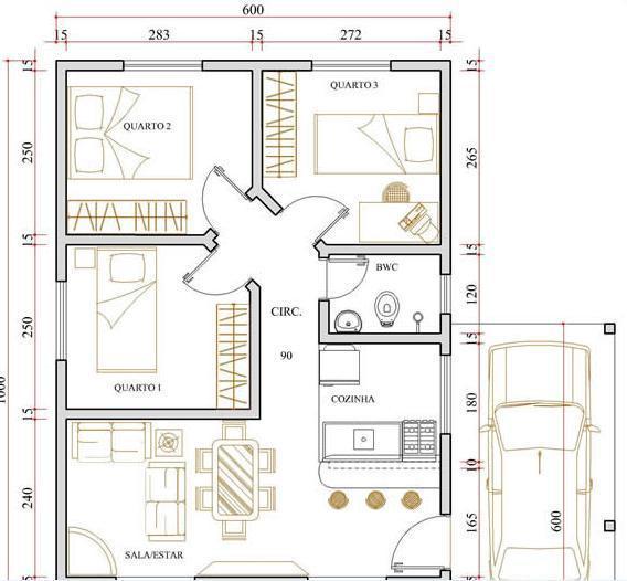 Planta simples de casa com garagem moderna