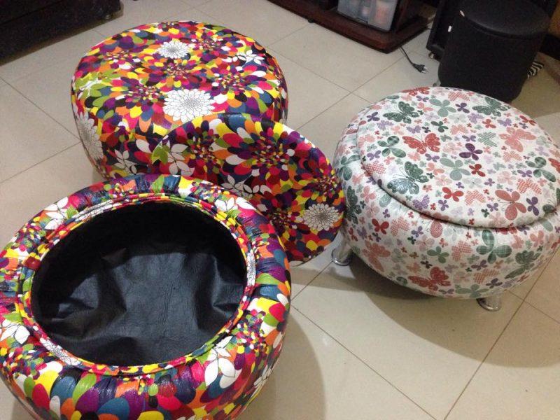 Puff baú de pneu reciclado para guardar coisas na sala