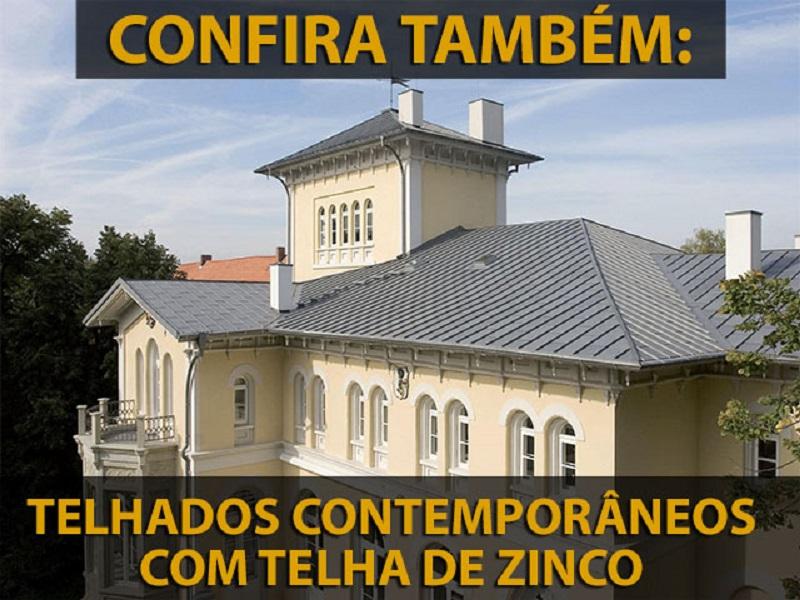 Telhado contemporâneo com telhas de zinco