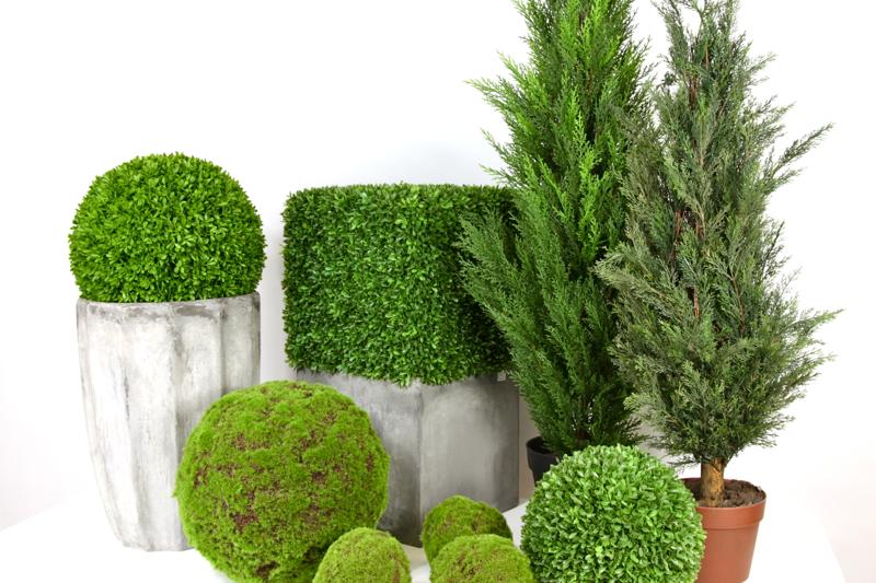 Plantas artificiais para decoração: Arbustos e ciprestes decorativos