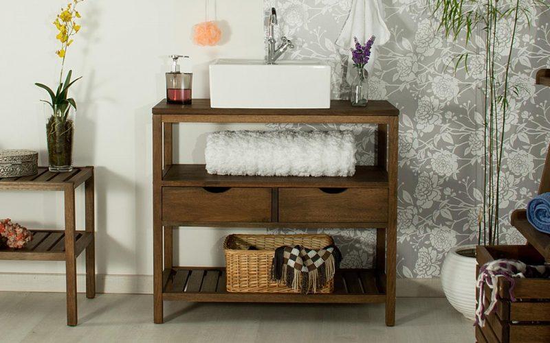 Bancada para banheiro em madeira, com gavetas e cuba sobre a parte superior