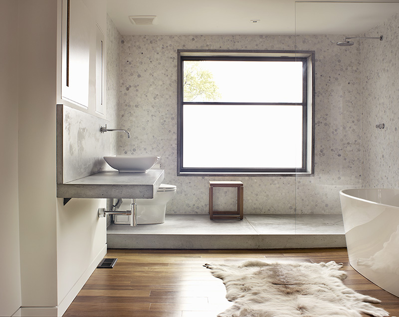 bancada para banheiro de concreto em L fixada na parede
