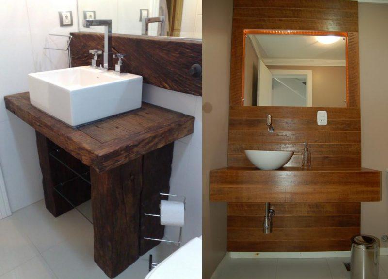 Modelos de lavabos com bancadas de madeira