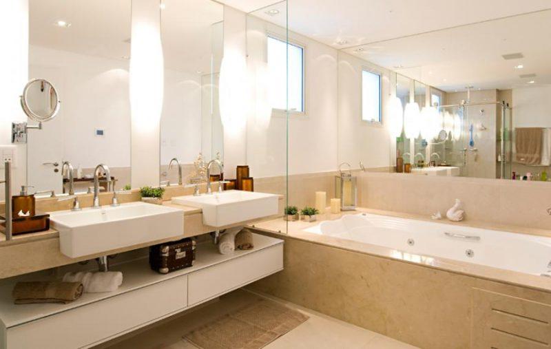 bancada dupla em mármore para banheiro