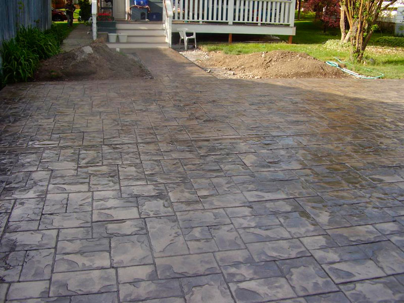 Piso de concreto estampado para o revestimento de calçada