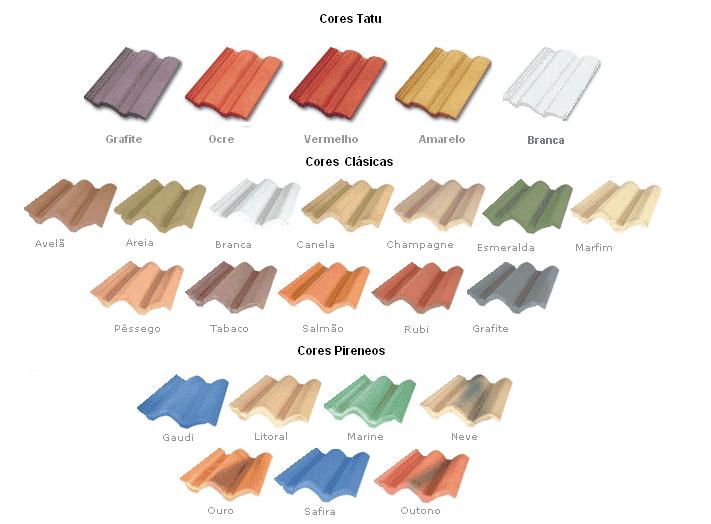 Diferentes cores de telhas de concreto disponíveis no mercado
