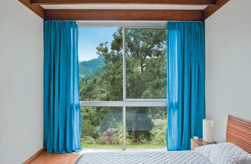 Cortina para quarto de menino azul para decoração de quarto branco