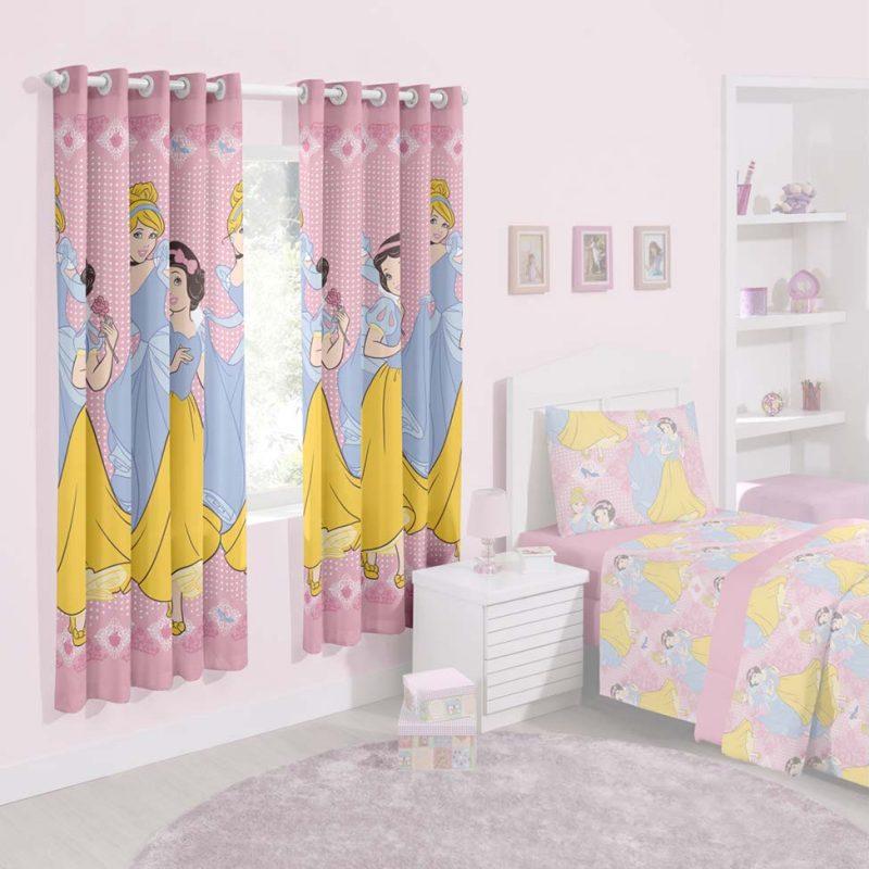 Cortinas de princesas para quarto de menina