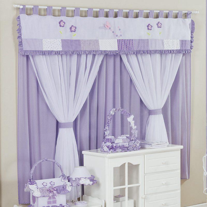 Lindas cortinas para quarto de bebê lilás, combinando com a decoração de quarto infantil feminino
