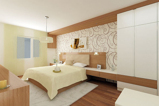 Modelo de papel de parede para quarto de casal com motivos vegetais