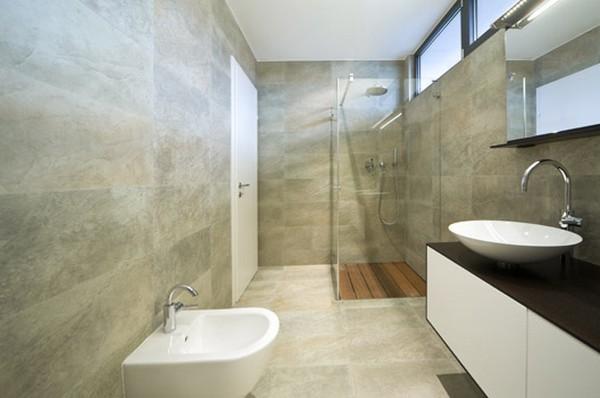 granito bege no piso de banheiro decorado