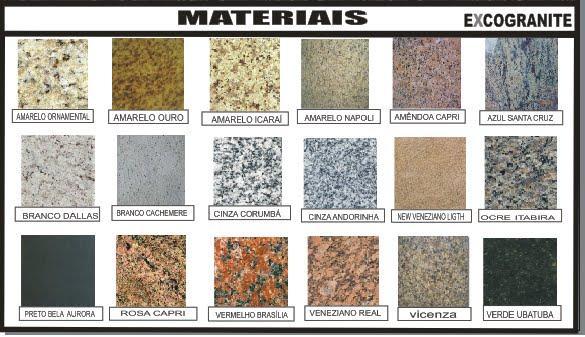 Tabela de cores e padrões de granito para o piso