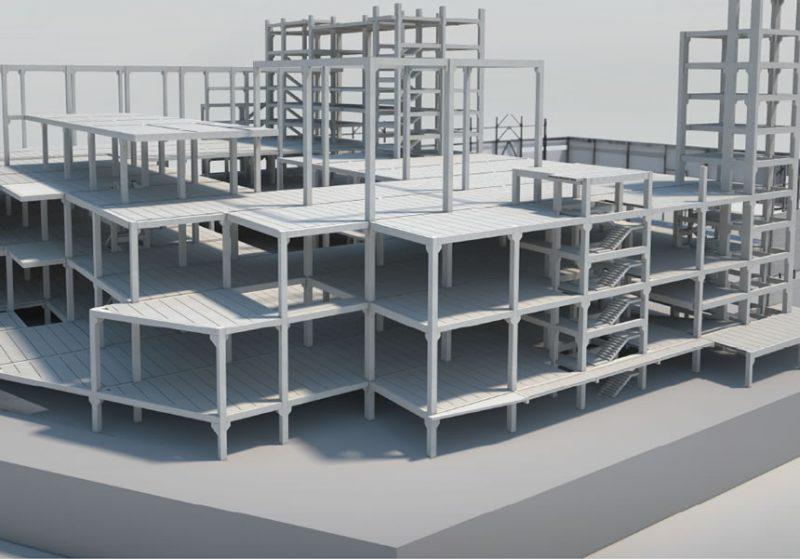 Edifício em construção com elementos pré-moldados