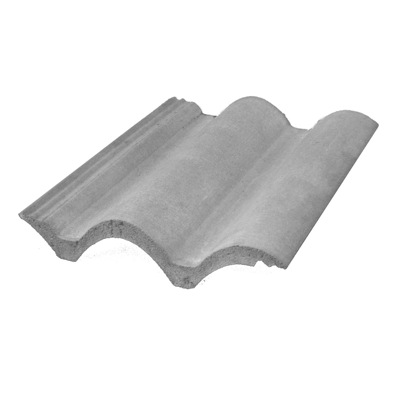 Aparência de uma telha de concreto comum. Perceba que ela possui um encaixe tipo macho-fêmea, que dá uma estabilidade muito maior ao telhado.
