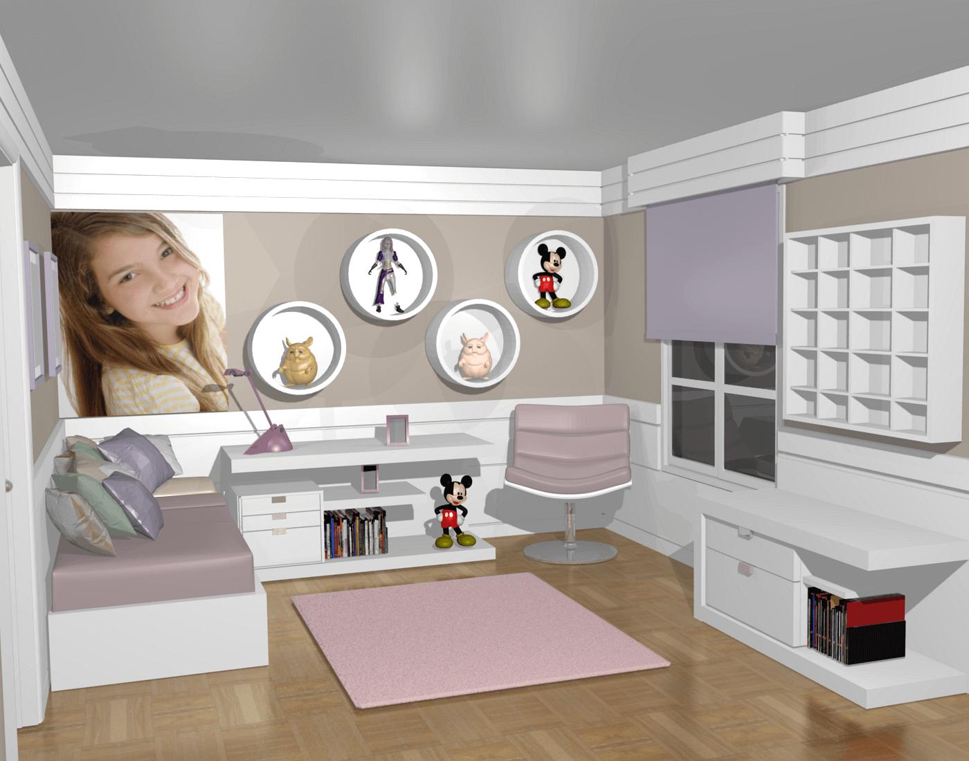 quarto planejado de menina com móveis sob medida