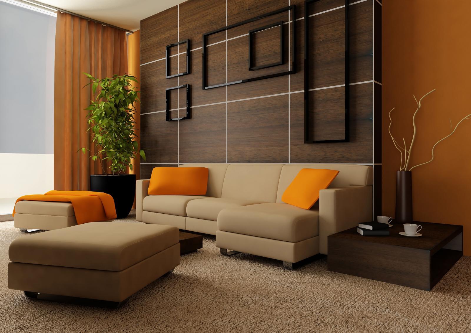Parede decorada com painel de madeira