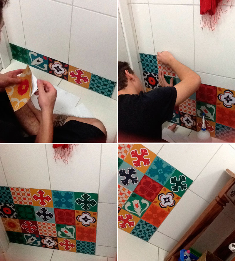 Aplicação de adesivo para azulejos