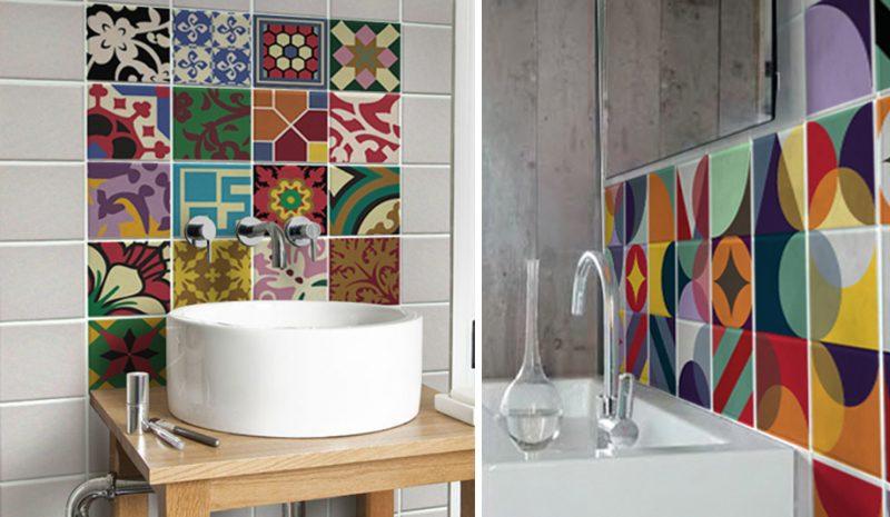 Adesivos para azulejos na cuba de lavabo